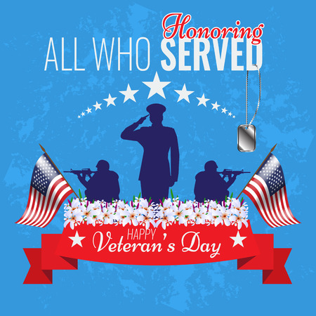 Veterans day background. Vector Veteran greeting card. Ribbon for veterans. Veteran military soldier silhouette. Flowers and banner for veterans. Veteran stars. Old vintage grunge style