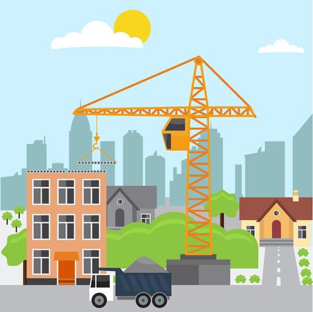 Construction. Procédé, transport, grue, sable, pierre, ciment. Maison, route. Illustration vectorielle de construction. Concept concept de construction. Pour l'arrière-plan de l'élément de conception infographique de Construction. Vecteurs