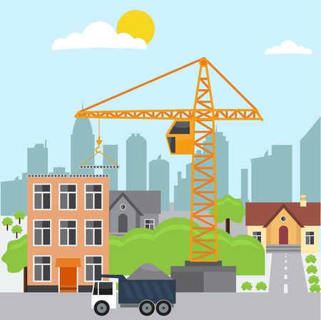 Construction. Process, transport, crane, sand, stone, cement. house, road. Construction Vector flat illustration. Construction concept theme. For Construction infographic design element background.