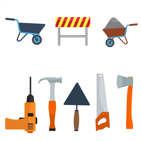 Vector construction tools icon set. Flat color design. Wheelbarrow, cart, screwdriver, hammer, saw, ax, darby tool, construction barrier Illustration
