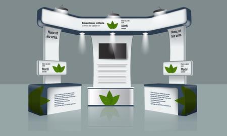 Illustriert einzigartige Standanzeige kreative Design-Ausstellung mit Tisch, TV-Strahl Licht und Logo. Booth Vorlage. Unternehmensidentität. Vector Messestand Display-Mock-up. Bereit Design-Elemente.