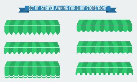 illsutration: Vector illsutration set of striped awnings with two flat color. Green