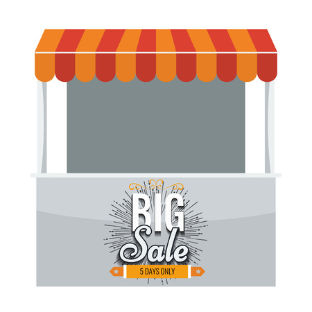 Store vector. Illustrated Store with awning and big sale on it. Store booth with flat color design. Stand booth with orange awning. Illustration