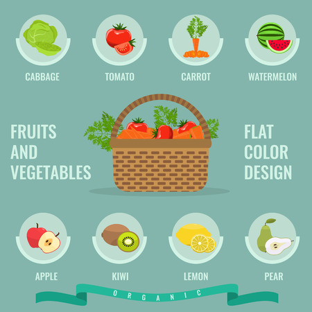 fruit basket: Fruits and vegetables icons set with solid flat color. Basket with full of organic vegetables. Organic Healthy food. Fresh fruit and vegetables with slice. Infographic in Fruit and vegetable concept.