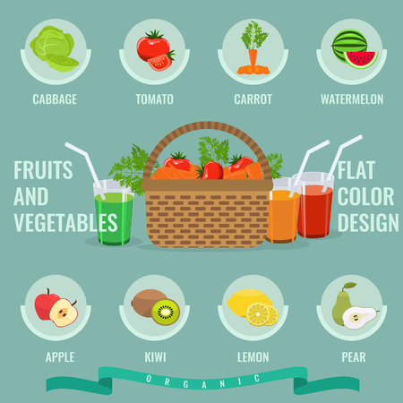 solid color: Fruits and vegetables icons set with solid flat color. Basket with full of organic vegetables. Organic Healthy food. Fresh fruit and vegetables with slice. Infographic in Fruit and vegetable concept.
