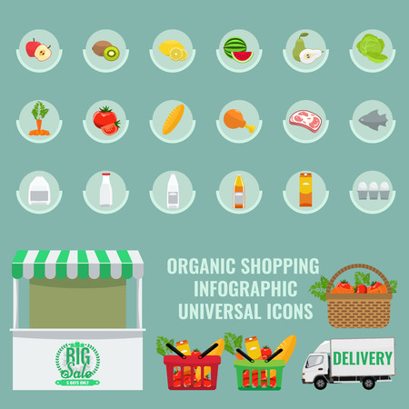 solid color: Fruits and vegetables icons set with solid flat color. Basket with full of organic vegetables. Organic Healthy food shopping infographic elements. Fresh fruit and vegetables with slice.