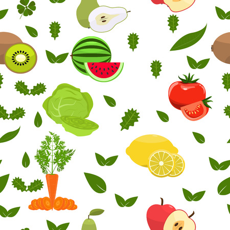 fruity: Fruity seamless pattern. Flat color design. Healthy food background. Summer fresh seamless pattern. Isolated Vector background Illustration