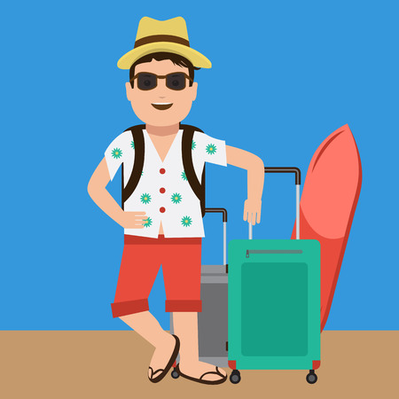 travel bag: Cute and Happy handsome tourist mascot. Flat color design for travel and summer concept.