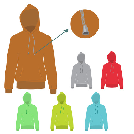 hooded: Set of colorful Hooded sweater. Vector Hoodie with solid and flat color design. Sweater for fashion concept infographic.