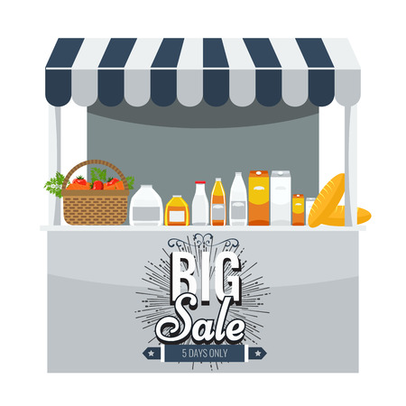 vitrine: Shop, grocery and shopping concept. Store booth with striped awning, fruits, vegetables, drinks, bread and basket with full of organic food on the display shelf. Big sale title on it. Illustration