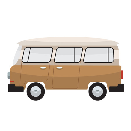 family van: Camper van. Summer vacation with family. Vector flat color design. Transparent glass.