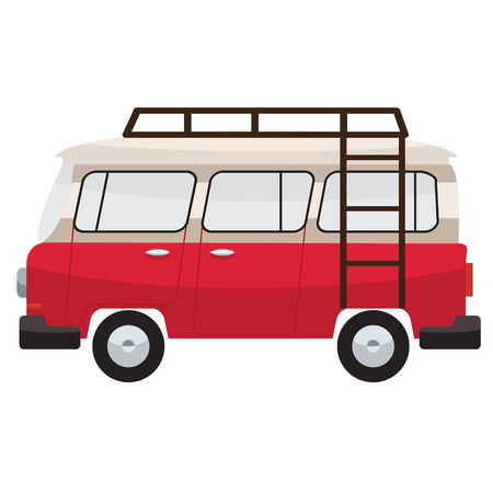 family van: Camper van with roof bars. Summer vacation with family. Vector flat color design. Transparent glass.