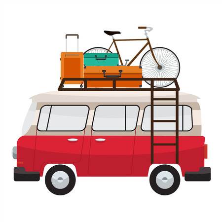 family van: Camper van with roof bars. Summer vacation with family. Vector flat color design. Transparent glass. Tourist bags and bicycle