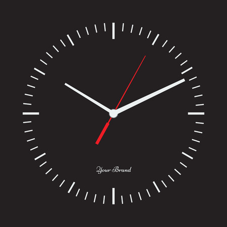solid color: Vector simple classic clock icon without numbers. Clock with solid and flat color design. Isolated solid black background. Place your logo.