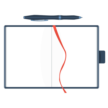 moleskine: Flat notebook with red bookmark and pen. Papers are blank. Solid mock up vector.