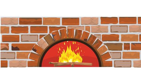 Houtoven op bakstenen muur. Vlakke en effen kleur design. Ideaal voor pizza of restaurant menu achtergrond