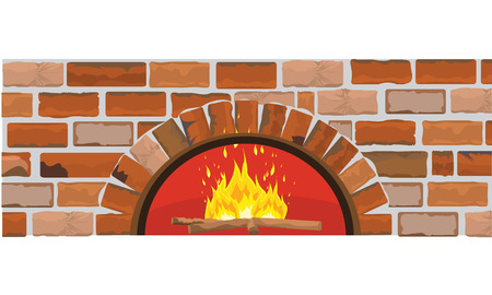 Firewood oven on brick wall. Flat and solid color design. Ideal for pizza or restaurant menu background