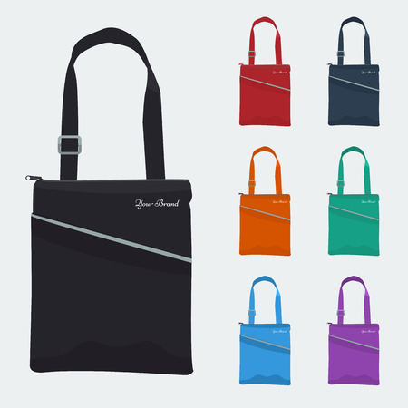 solid color: Set of Detailed Bag with front pocket and zip flat and solid color design. Fabric tablet bag or sport bag for corporate identity and promo gift.
