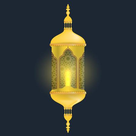 Realistic Lamp of Ramadan for greeting card background. Golden Ramadan lantern with light effect.