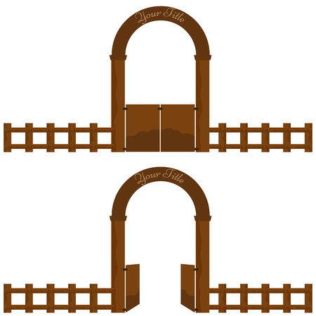 hamlet: Vintage Village or farm Wooden Gate arch design with wood fence. Vector Illustration solid flat color design. Doors with opened and closed position Illustration