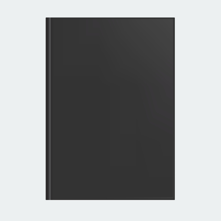 Mockup of blank black book cover. Realistic Textbook, booklet, notepad or notebook for your design and branding