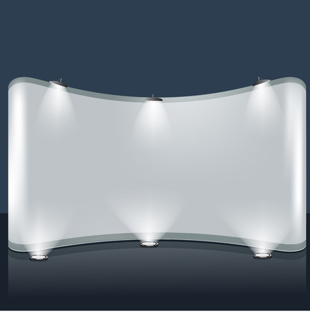 Exhibition trade booth template. Illustrated vector. Realistic blank stand design with light and beam on it.