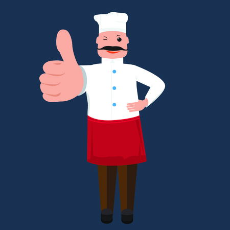 solid color: Vector cute Chef cook man showing thumb up. Chef cook with solid and flat color design. Cook for your restaurant menu design.