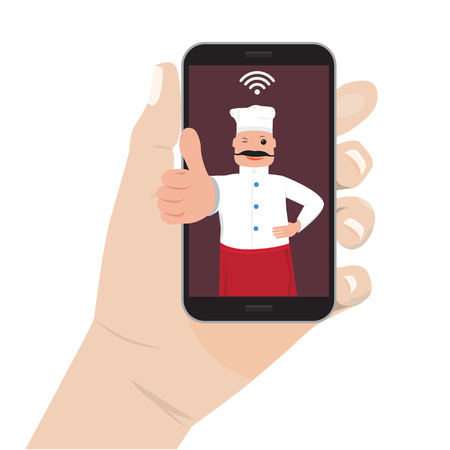 moble: Online food order theme. Mobile application for restaurant and cafe. Hand holding Moble smart phone and chef cook showing ok. Illustration