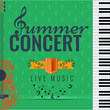 blues music: Summer concert Jazz and Blues music festival. Poster background template with flying musical notes guitar and piano. Vector design.