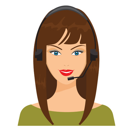 telephone operator: Vector illustration of smiling telephone operator. Nice woman face with flat color design with headphone. Illustration