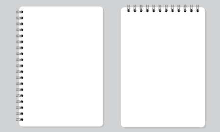 Vector Blank realistic spiral notepad or notebook with solid flat color. Isolated with solid background.