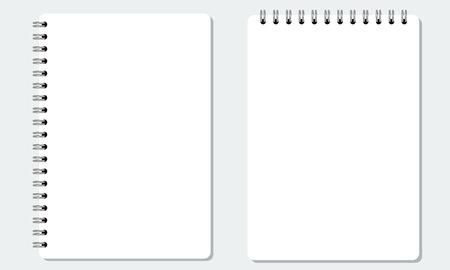 solid color: Vector Blank realistic spiral notepad or notebook with solid flat color. Isolated with solid background.