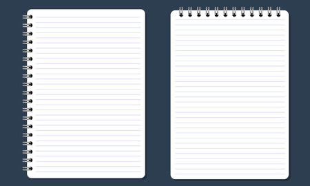 Blank realistic spiral notepad, notebook with flat and solid color. Paper with lines. Isolated on solid background. Vector for Display Mock up.
