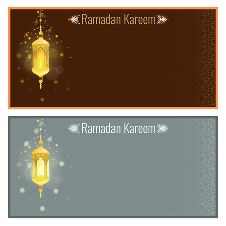 muhammed: Ramadan kareem greeting card design template with light effect and lamp. Vector Flyer or brochure design with Particle star light effect and ornament background Illustration