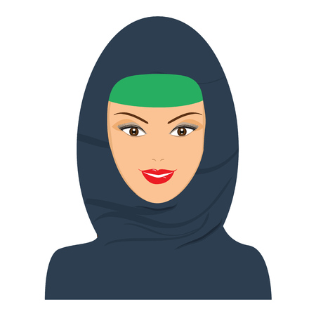 niqab: Islamic happy woman avatar with headgear, hijab. Vector with flat color design. Illustration