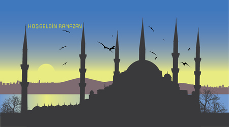 bayram: Ramadan Kareem. Background for your greeting card with Istanbul city and Suleymaniye mosque silhouette. Translation of title in image: Welcome Ramadan month.