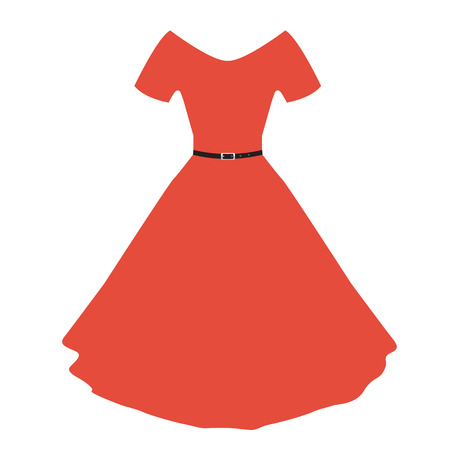 red dress: Vector red women dress with flat color design.