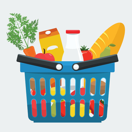 foodstuff: Supermarket basket full of fresh products, bread, vegetables. Food shopping basket with natural and organic food with flat color style