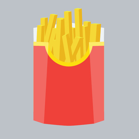 solid color background: Fries vector illustration with flat color design. Fries in box. Fries isolated on solid color background. French fries inside red packaging.