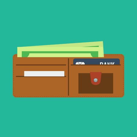 billfold: Wallet open in flat color style and money in it. Wallet with credit bank card. Wallet full of money.