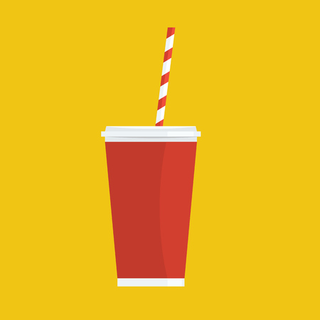 Soda with straw. Painted with flat solid color design. Vector illustration. Cool drink concept icon.