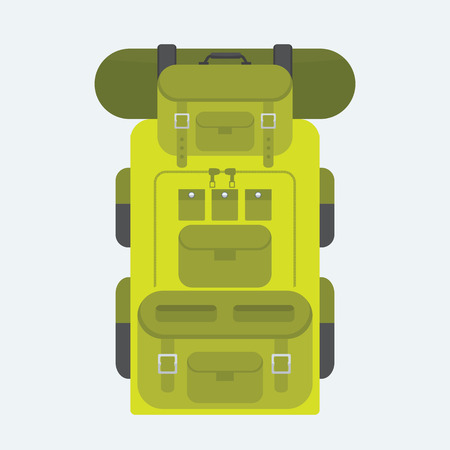 back pack: Camping and military backpack icon. Vector Graphic illustration with flat color style.