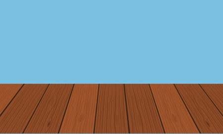tabletop: vector wood table or shelf top on isolated background. Flat color style Illustration
