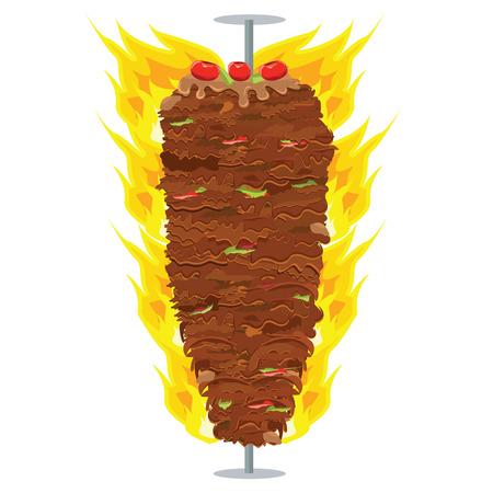 illustration of Doner Kebab on pole, grilling with fat, pepper, tomatoes on top of it. Doner Kebap with solid and flat color design Ilustração