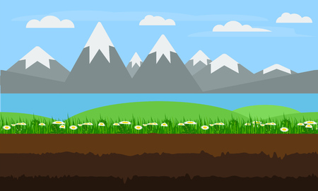unending: Seamless cartoon nature landscape, unending, endless, continuous, looping, background with soil green grass flowers, blossoms, lake, mountains and cloudy sky layers.