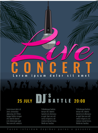 live concert: Summer Beach live concert and DJ Party or poster with flat color style design. concert party advertising poster template design.