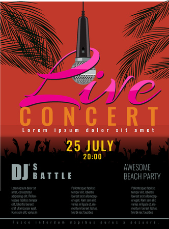 tree disc: Summer Beach live concert and DJ Party or poster with flat color style design. concert party advertising poster template design.