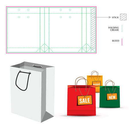 die cut: Shopping Paper Bag with Die Cut Layout template. Cut and fold lines. Double paper protected holes. Illustration