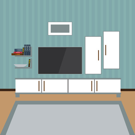 living room wall: Vector Interior of a living room. Modern flat design illustration. TV on the wall. Shelf with books, photo frame. Illustration