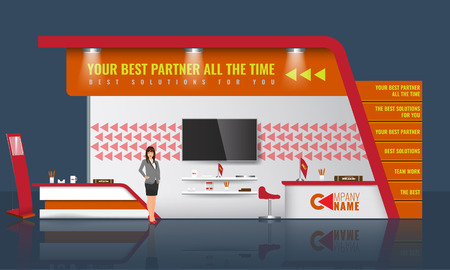 info board: Unique creative exhibition stand display design with table, tv light beam info board  and some promotion objects. Realistic Trade Booth template mock up. Corporate identity design elements.